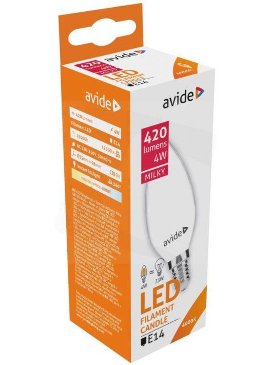 LED Filament izzó Gyertya 4W E14 - Napfény fehér
