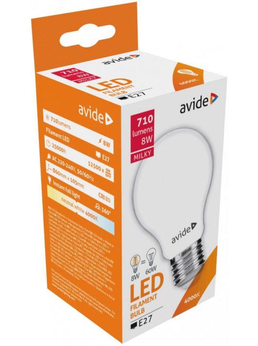 LED Filament E27 Gömb izzó 8W - Napfény fehér