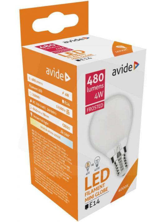 LED Filament izzó Mini Gömb 4W E14 - Napfény fehér