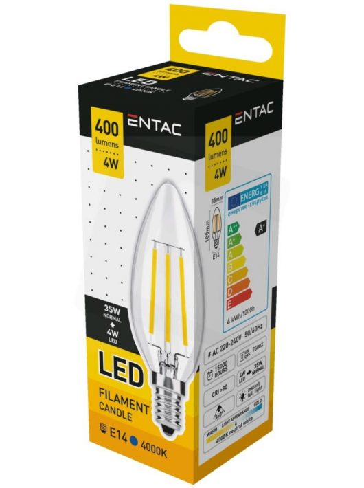 LED Filament izzó 4W E14 - Napfény fehér