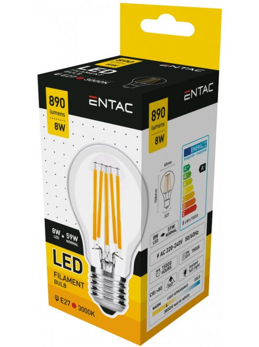 LED Filament izzó 8W E27 - Meleg fehér